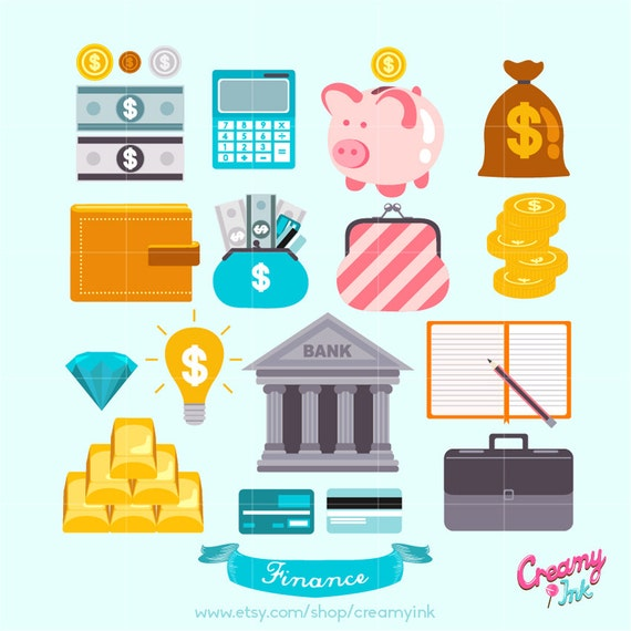 save money digital vector clip art finance clipart design rh etsystudio com finance clip art images financial clip art illustrations