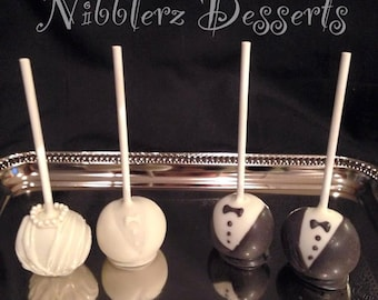 WEDDING cake pops (pair), Gay/Lesbian/Straight wedding, Marriage Equality party favors, tuxedo, Reception, Bride, Groom