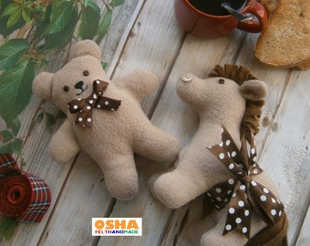 Set 2 toddler gift Stuffed animal toys Teddy bear and Pony Beige brown Fleece animal toys  Felt toys Stuffed pony Soft toys Soft baby gifts