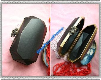 15x9cm(6 x 3inch) Octagon Dressing case Leopard-bead metal purse frame (antique brass color)-1set