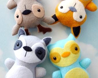Woodland Animal Softies Sewing Pattern - Tutorial - PDF ePATTERN - Raccoon, Fox, Deer & Owl