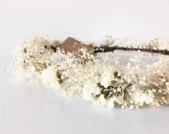 Flower crown, nautical crown, bridal headpiece, babys breath crown, white flower crown, boho wedding, bohemien, dried flower crow