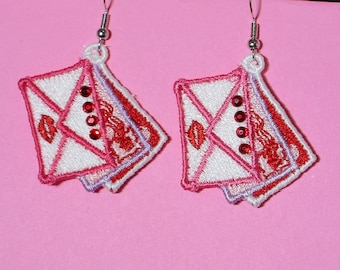 Lace Heart and Flower Earrings with Swarovski Crystals (12) - Free Shipping!