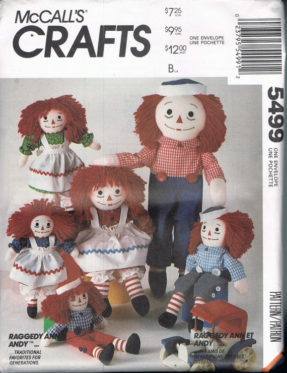 Doll Sewing Pattern - Raggedy Ann & Raggedy Andy Dolls With Clothes ...