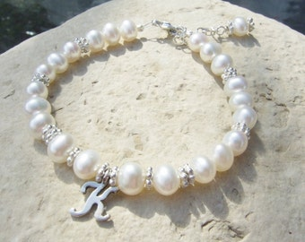 Beautiful All Sterling Silver Freshwater Pearl Bracelet with Initial Charm