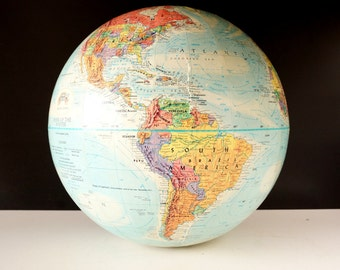 """Vintage Replogle """"Mark of the Master"""" World Globe with Blue Oceans, 12"""" diameter (c.1958) - Hard to Find Collectible, Home Decor"""