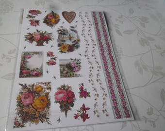 x 1 Board mixed stickers stickers multicolor sequined flowers 30 x 21 cm