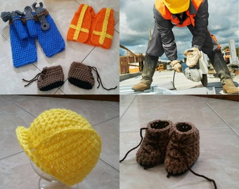 Crochet Construction Worker Outfit (Beanie, vest, pants, tool belt, tools and booties)