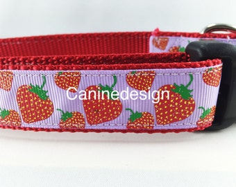 Dog Collar, Strawberry, 1 inch wide, adjustable, quick release, metal buckle, chain, martingale, hybrid, nylon