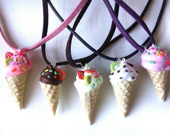 Polymer Clay Miniature Ice Cream Pendant.