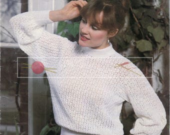 """Lady's Lace Sweater 32-40"""" 4ply Sirdar 5980 Vintage Knitting Pattern PDF instant download"""