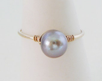 14kt Gold Filled Freshwater Pearl Ring, stacking thin skinny stacker June birthstone ring wedding bridesmaid bridal party