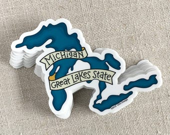 Michigan Great Lakes Vinyl Sticker / Michigan Sticker / Water Bottle Sticker / Fun Laptop Sticker / Great Lakes State / Cool Travel Sticker