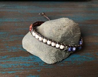Red White Blue Patriotic Ankle Bracelet ~ Spring Summer Bracelet Anklet ~ American Flag ~ USA America ~ 4th of July ~ Bohemian Earthy Rustic
