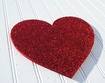 Red Glitter Valentine Heart Decor, Wall Decoration