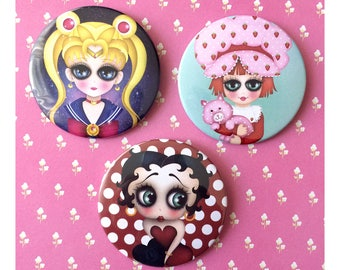 Choose 1 - 3 inch pinback button with my digital illustration, Sailor moon, Strawberry Shortcake, Betty Boop