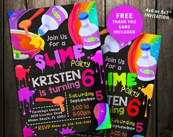 Slime party invitation, Slime birthday invitation, Slime invitation, printable custom invites glitter digital file kit chalkboard make craft