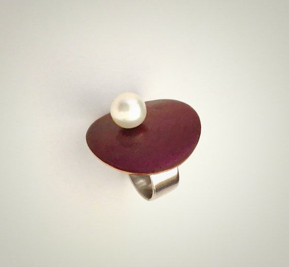 EnamelArt Sterling & Copper Ring with Pearl