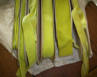 Vintage Silk Velvet Trim Ribbon Acid Green Chartreuse Satin back