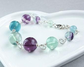 Fluorite Bracelet  Sterling Silver  Gemstone Jewelry Made For Her  Multi Colored Gem  Stone Bracelet Healing Stones