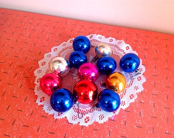 Vintage Christmas ornaments, Cute set of 12 small glass Christmas tree ornaments