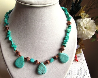 Necklace of Chalk Turquoise Chips, Magnesite Teardrops, Copper and Swarovski Crystals