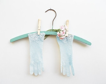 Light Blue Cotton Crocheted Gloves, Floral Detail, Delicate