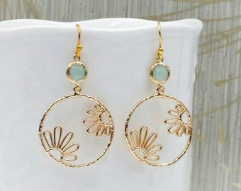 Mint Seafoam Green Glass Crystal, Gold Lace Filigree Earrings, Large Gold Dangle Earrings, Gold Mesh Round Circle Daisy Earrings, Boho Chic