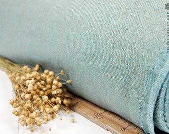 Linen turquoise golden fabric -Light teal blue heavy fabric- Silky look luxurious dense thick linen- Linen for bedspreads