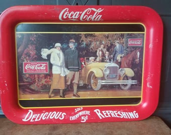 Vintage Coca Cola Tray, Touring Car, Advertising, Memorabilia, Collectible, Americana, Home Decor