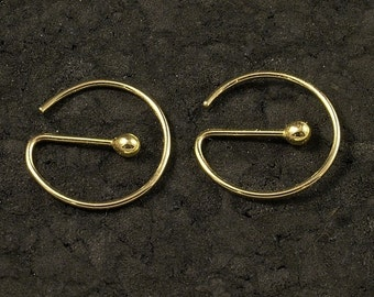 Gold Hoop Earrings - Small Gold Sleeper Hoops in Solid 10KGold - An Orginal Catchless MetalRocks Design