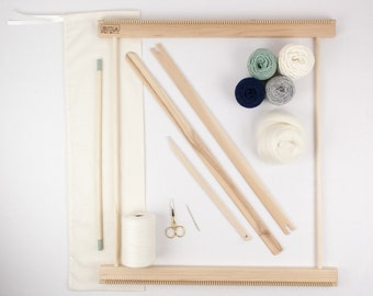 """20"""" Frame Loom Weaving Kit / Everything you need to make your own woven wall hanging Moss/Navy"""