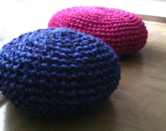 """pouf crochet """"olga"""" laine acrylique bleue"""