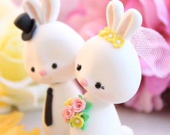 Custom Bunny wedding cake toppers - bride and groom figurines animals Rabbit personalized white pink yellow pastel colors wedding decoration