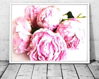 peonies photography peony print flower wall art nature phtography make up room wall art nursery wall art shabby chic digital watercolor