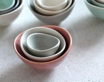 Mini Nesting Bowls - Salmon, white, gray  - set of 3 - Pottery Bowls - Stacking  prep bowls