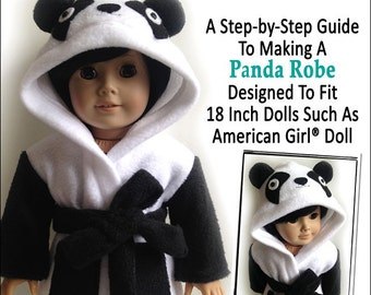Pixie Faire Miche Designs Panda Robe Doll Clothes Pattern for 18 inch American Girl Dolls - PDF