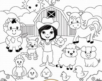 Agriculture Clipart Black And White Cute farm anima...