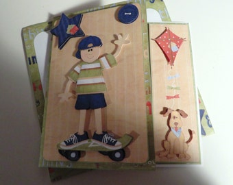 Handmade and hand cut and layered boy skateboarding card with matching envelope.