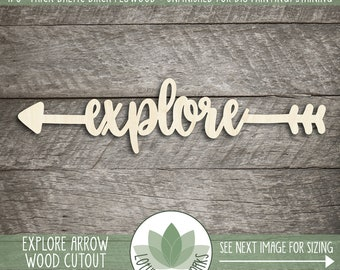 Explore Arrow Wood Word Sign, Word Wall Decor, Wooden Explore Arrow Cutout, Unfinished Wood Signs, Wood Arrow Sign, Explore Nursery Sign