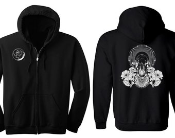 RAVENOUS Wolf Skull Hoodie Men's and Women's Geometric Moon Black Hooded Sweatshirt Sacred Geometry