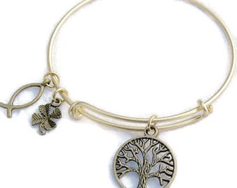 TREE OF LIFE Gold Bangle,Clover, Christian Fish, Fully Adjustable Wire bangle,Bronze charm Bracelet,One Size Fits Most