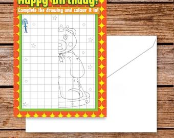 Colouring Birthday Card Kids/ teddy bear birthday greeting cards/ interactive birthday cards colouring/  kids unusual birthday card/