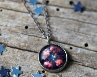 Cat Paw Nebula Pendant - Galaxy Space Necklace - Antique Silver or Bronze - Cosmic Jewellery, Outer Space, Universe Jewelry, Science Gift