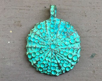 Large Sea Urchin Pendant Green Patina Mykonos Casting