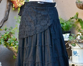 Extra Large Black Tie-Wrap Unique One of A Kind Festival Lace Skirt