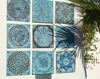 Outdoor wall art Garden decor Set of 9 ceramic garden art ceramic wall art for garden Ceramic tiles garden art Turquoise 30cm : cheap outdoor wall art - www.pureclipart.com