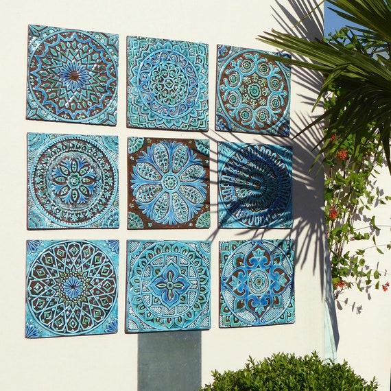 outdoor wall art garden decor set of ceramic garden art