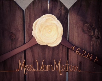 RUSTIC Custom Wedding Hanger with Satin and Lace Flower and Date