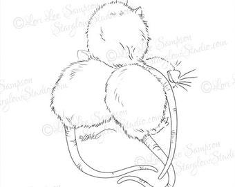 Pet Rat Sketch Digital Stamp: Rattie, Ratty, Drawing Digital Download, Scrapbook Paper Crafting Supply, Clipart, Clip Art, DigiStamp